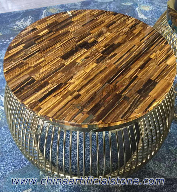 Tiger Eye Gold Stone Side Table top