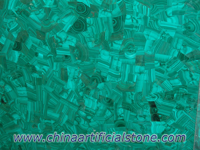Malachite Green Semi Precious Stone Slabs Vein Cut