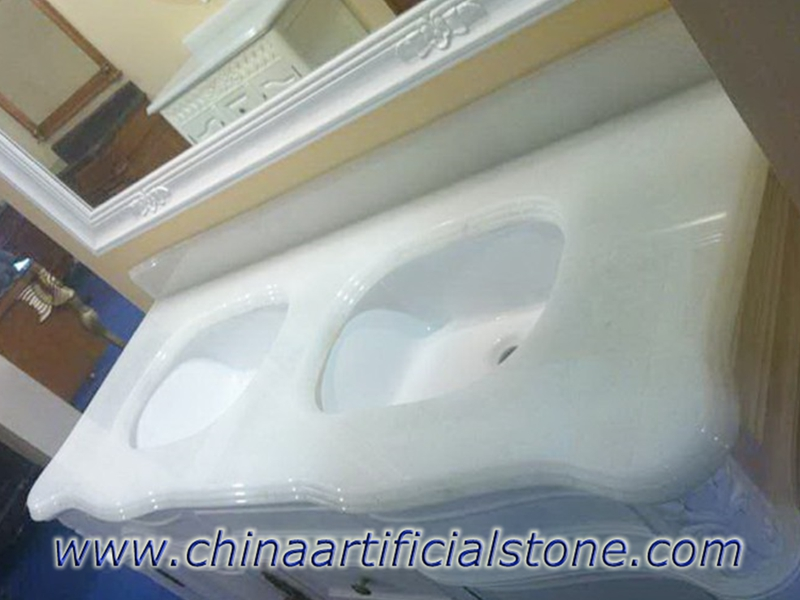 Pearl White Recycled Magna Glass Surface vanity tops