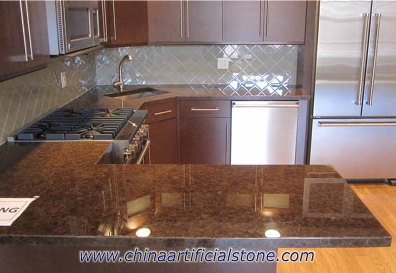 Brown Backlit Recycled Glass Countertops