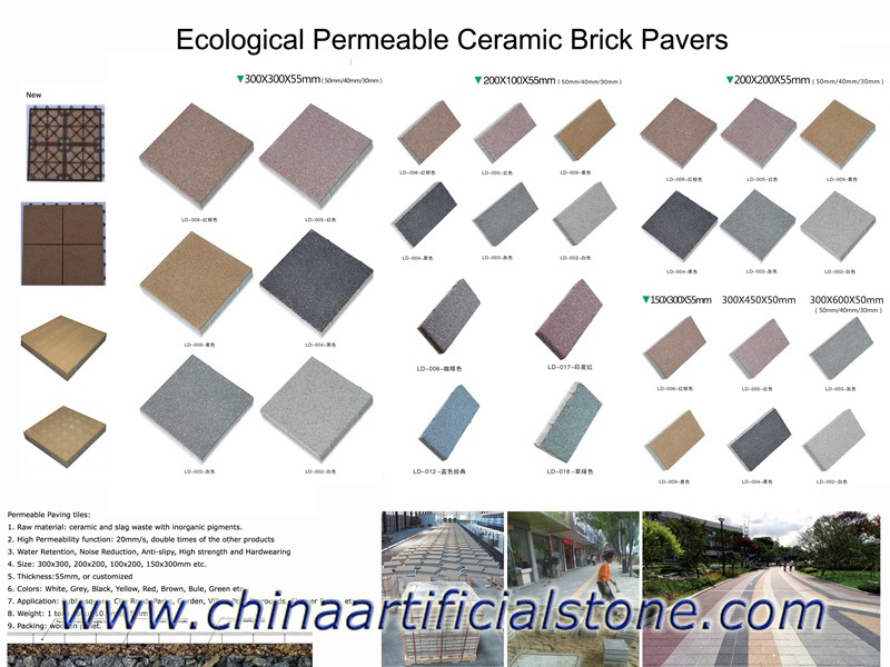 Permeable Ceramic Brick Walkway Pavers