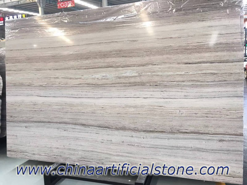 Crystal White Wood Vein Grain Serpeggiante Marble Slabs