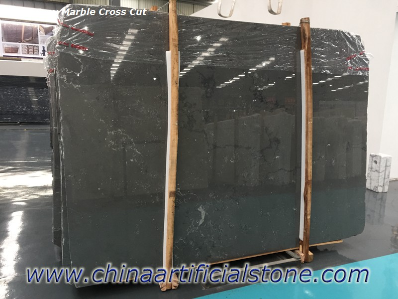 Jazz Grey China Dark Grey Marble Cross Cut Slabs