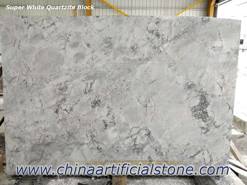 Super White Quartzite Granite Marble Domonite Block