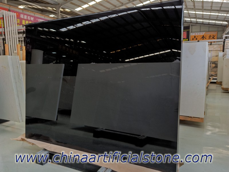 Black Marmoglass Crystallized Glass Slab Panels