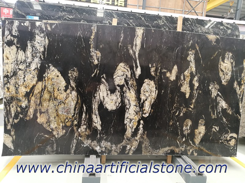 Brazil Black Granite with Gold Veins