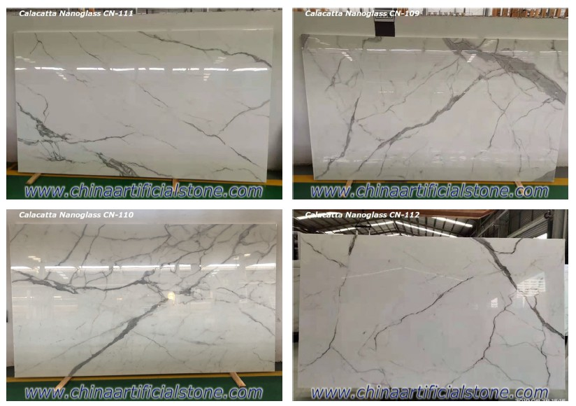 China Nano White Calacatta Granite Slabs