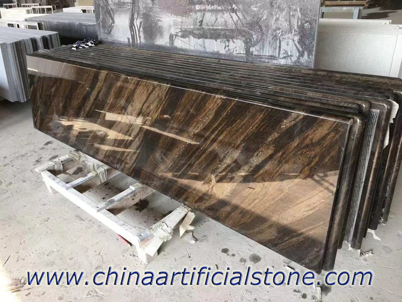 Flowing Brown Granite Countertops