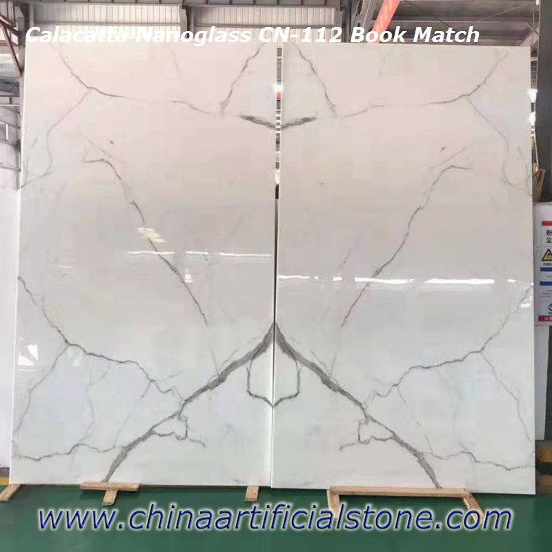 Booked Matched Calacatta Nanoglass Slabs