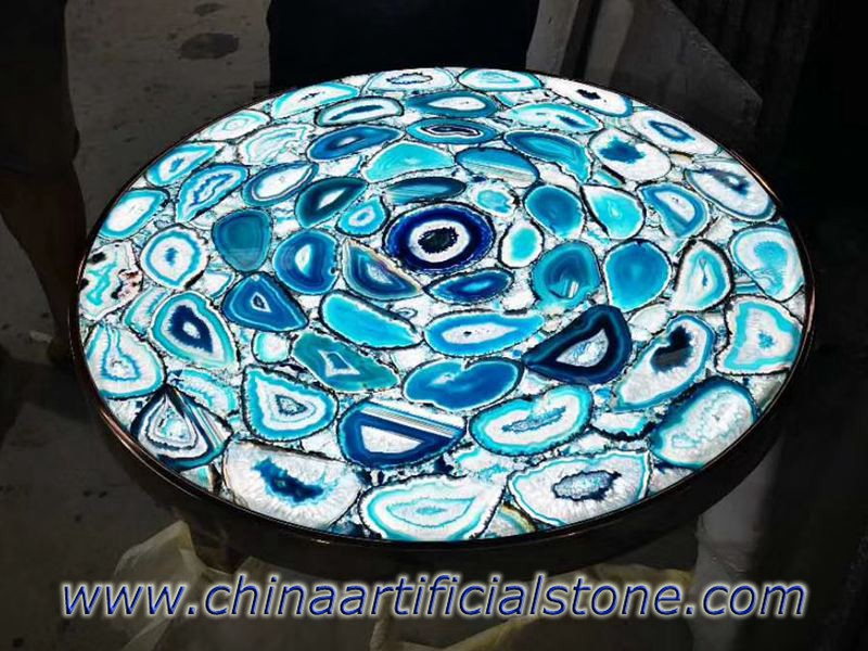 Blue Agate Round Table with backlit