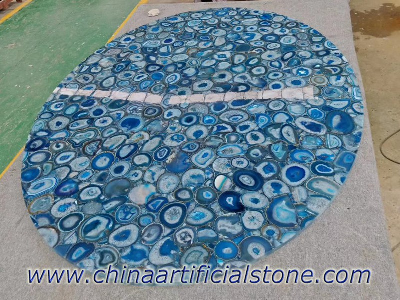 Blue Agate Big Oval Table