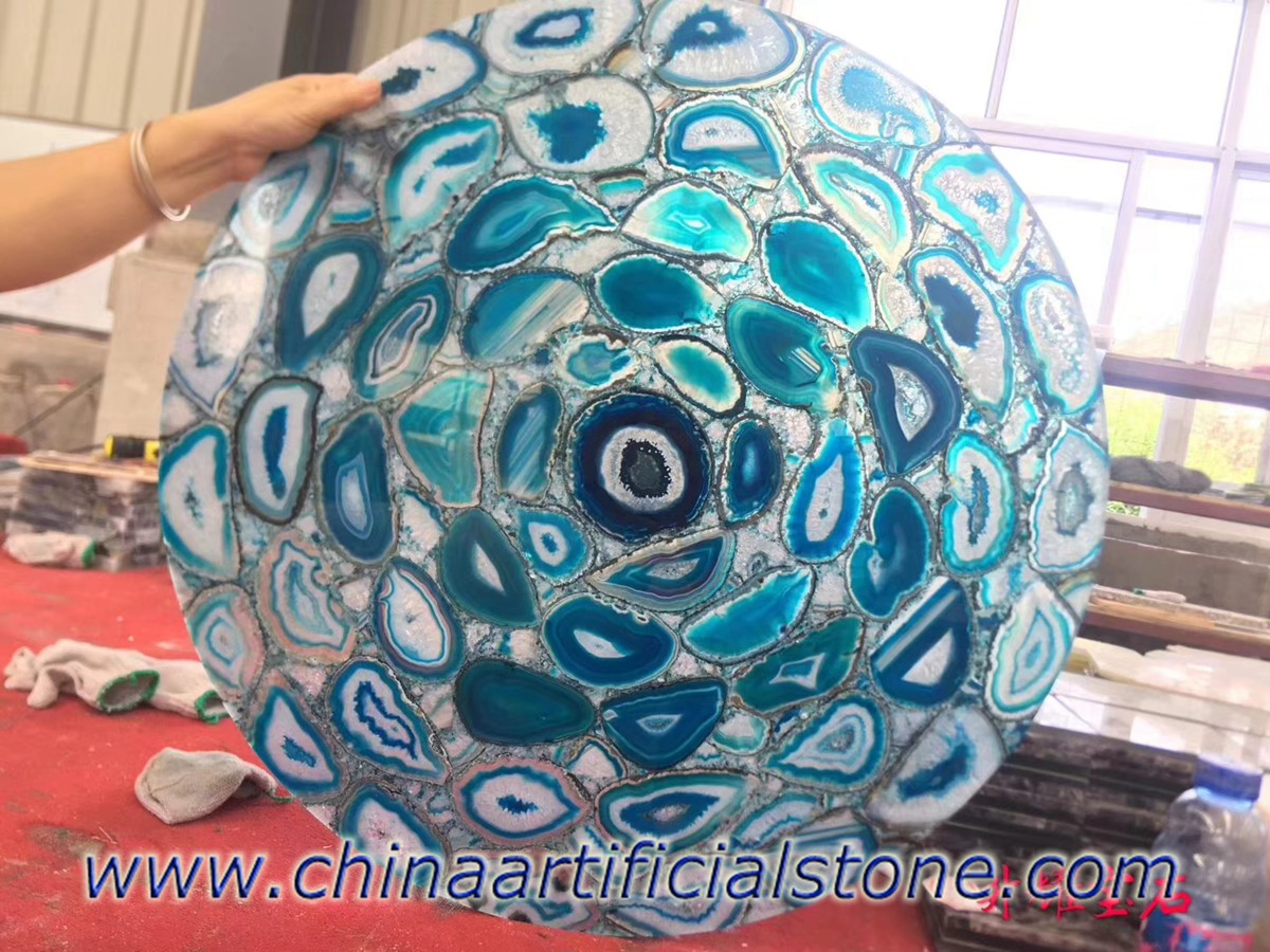 Blue Agate Small Round Table Tops