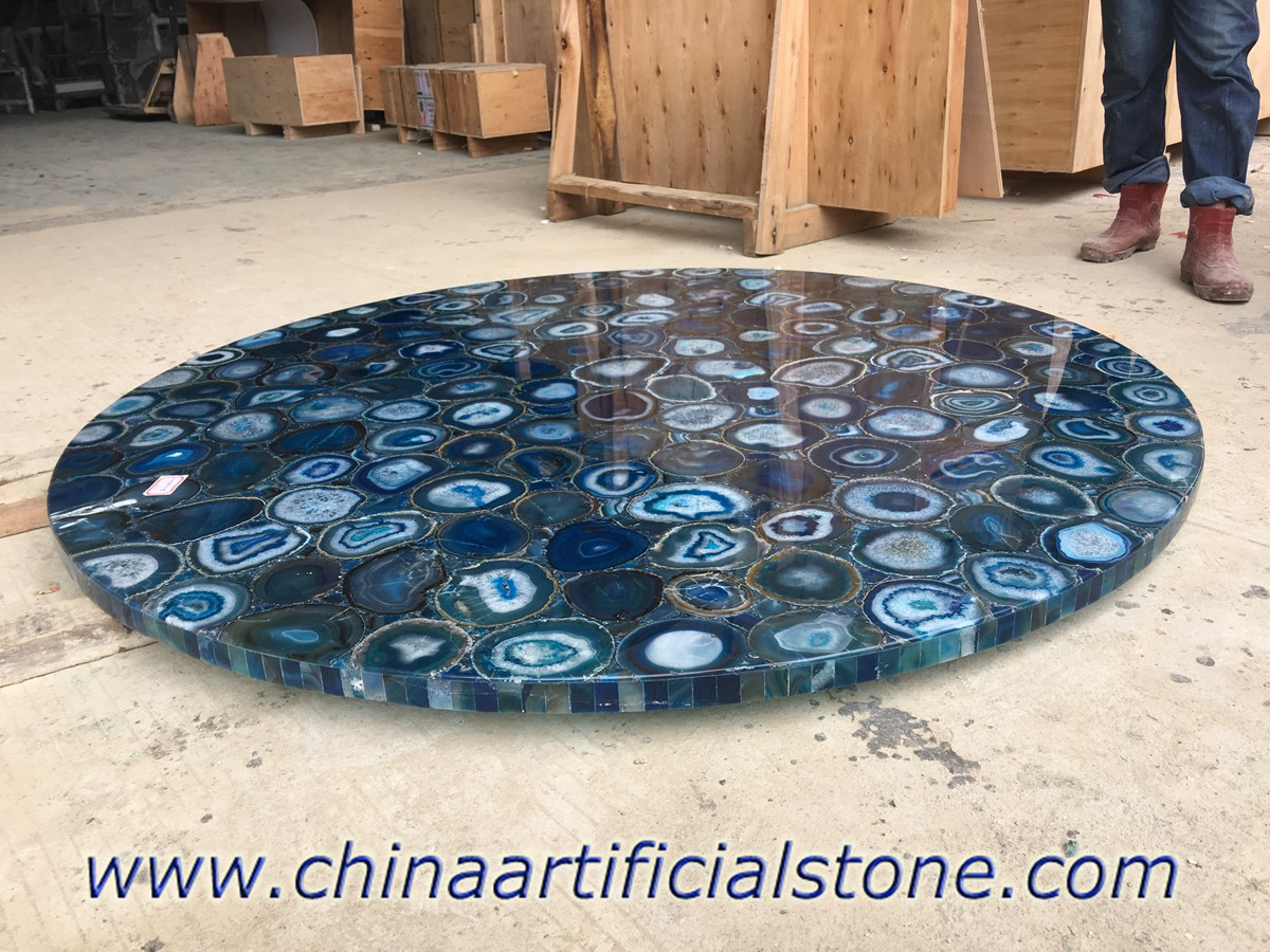 Blue Agate Round Table Tops with laminate edge