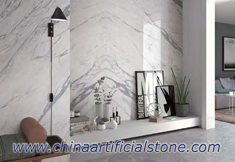 Statuario Look Sintered Stone Slabs Wall facade