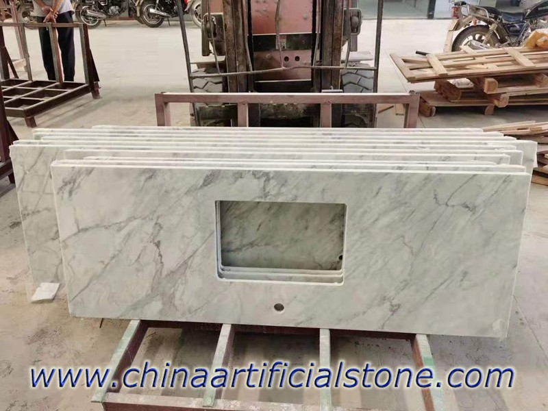 Carrara White Marble Nanoglass Vanity Tops