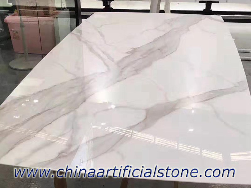 Calacatta Nanoglass Table Tops