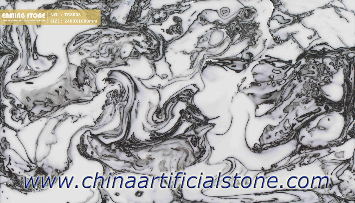 Artificial Onyx Sheet White with Black Veins