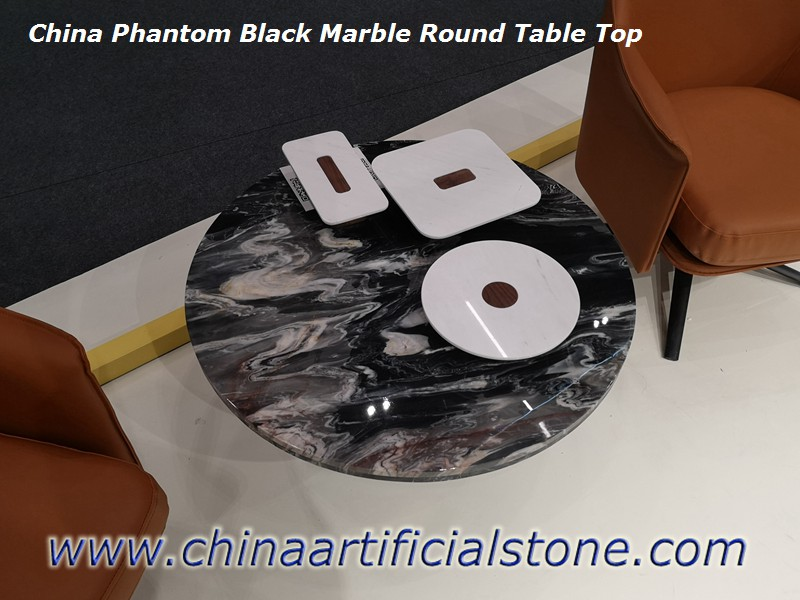 China Black With White Vein Marble Round Table Tops