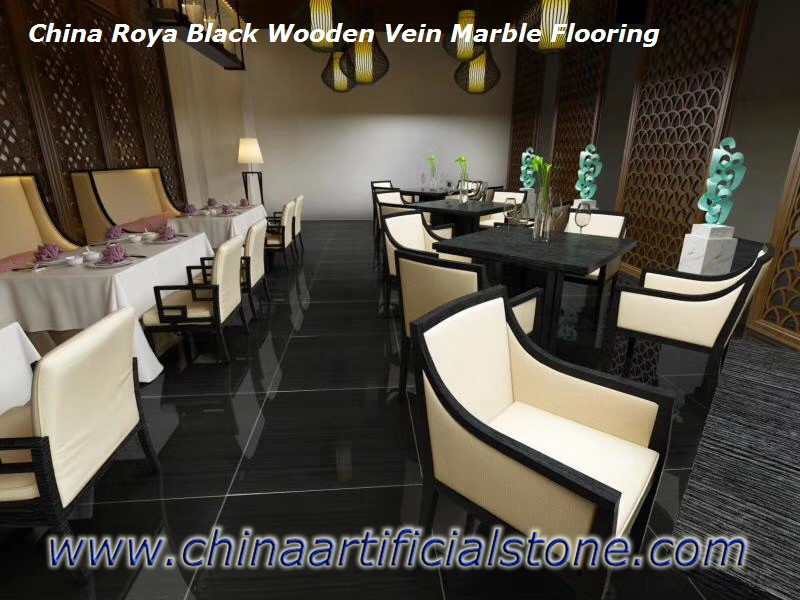 Royal Black Wooden Vein Marble Tiles for Floor