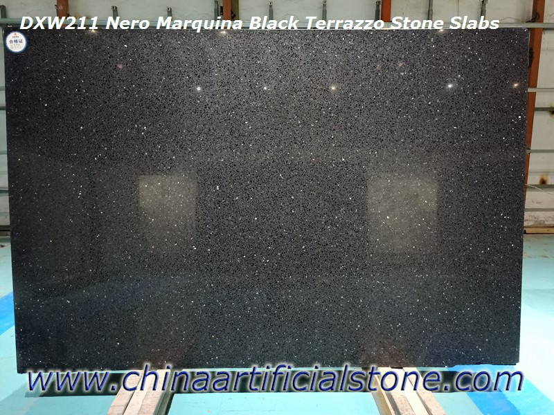 Black Terrazzo Slabs for Countertops and Wall