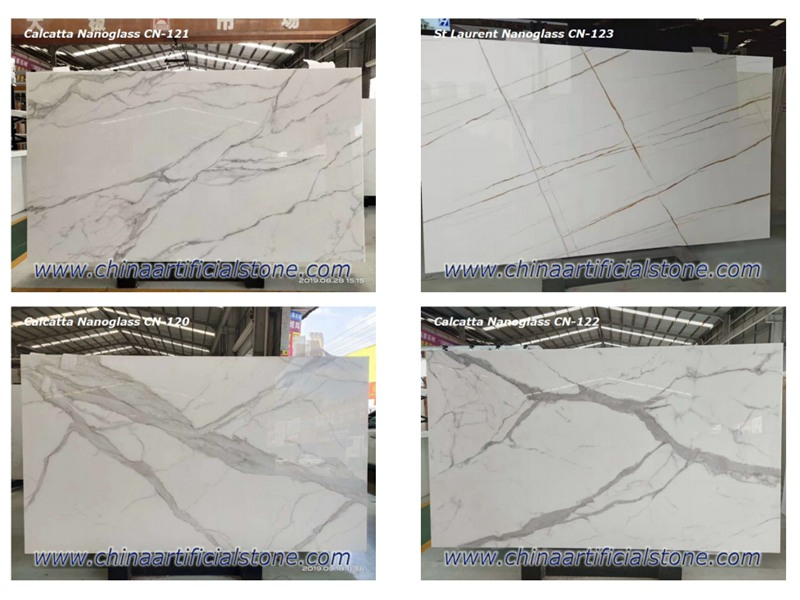 Nano Glass Calacatta White Marble Slabs