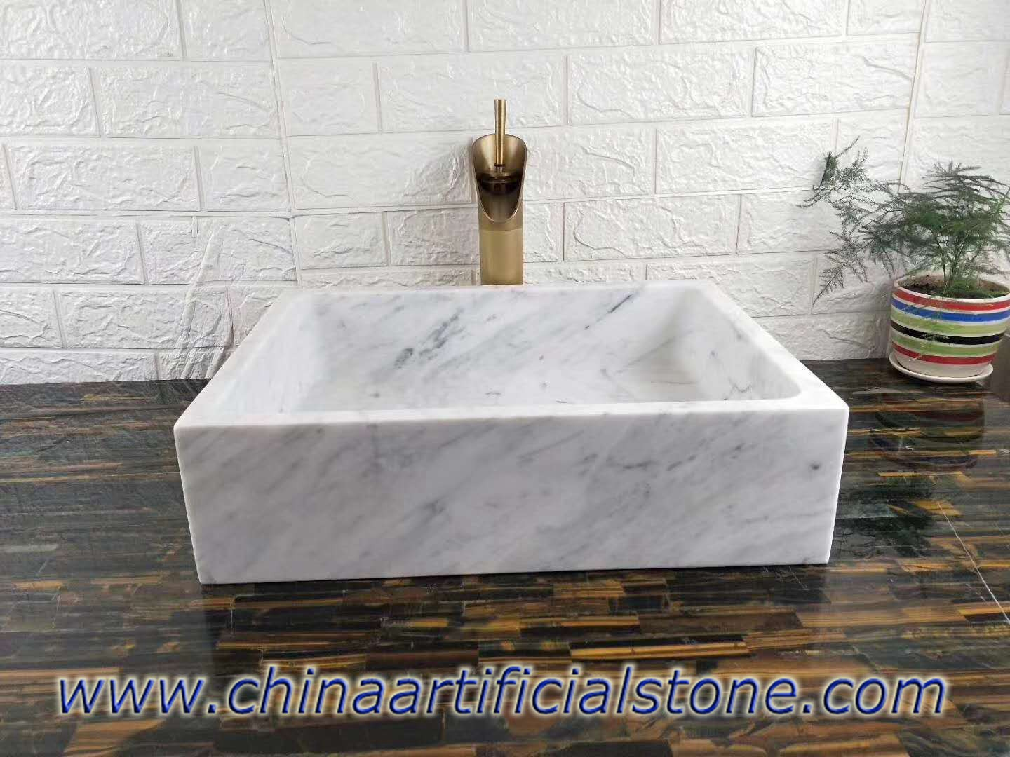 Carrara White Marble Retangle Sink 34x35x13cm