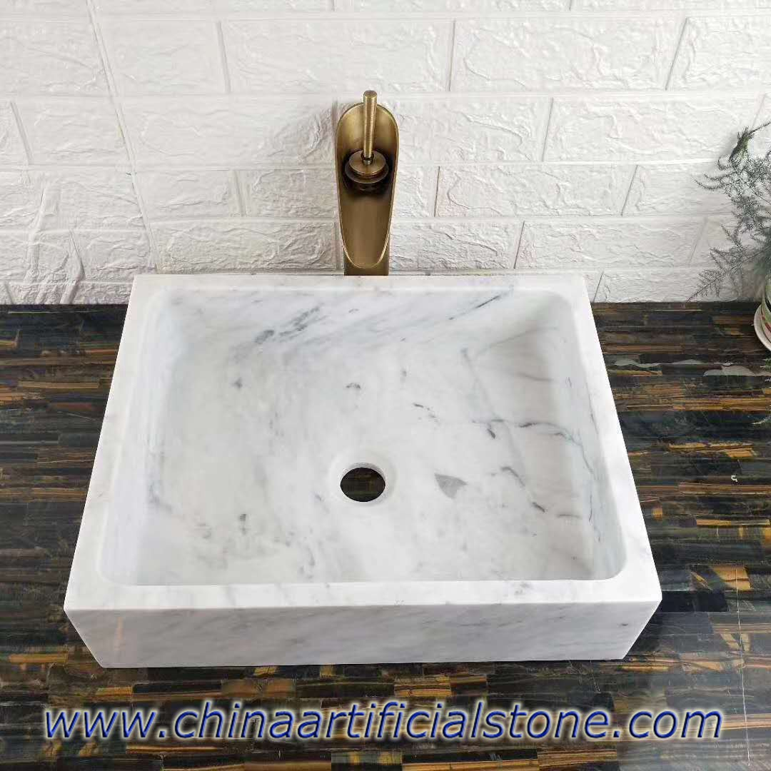 Carrara White Marble Retangle Bathroom Counter Sinks 34x35x13cm