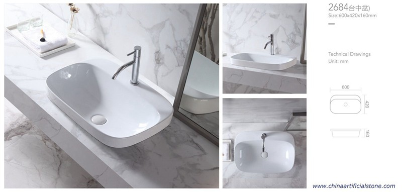 Semi Counter Wash Basin with Faucet Hole 600x420x160mm