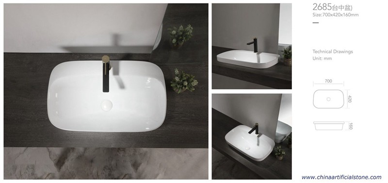 Retangle Semi Counter Ceramic Sink with Fauce Hole 700x420x160mm