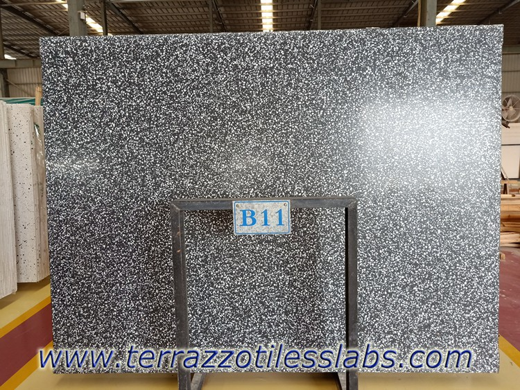 Black Terrazzo slabs for worktops countertops table tops
