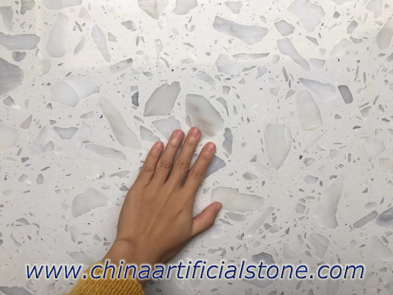 White Terrazzo Tile with large aggregate