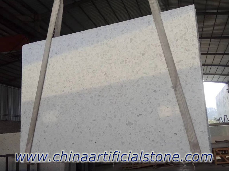 Large White terrazzo slabs for table tops