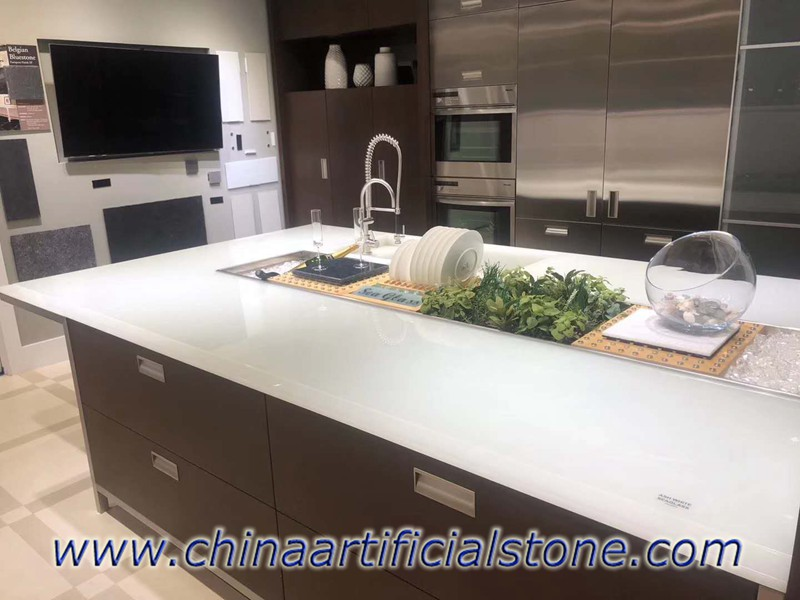 Ash White Jade Glass Kitchen Countertop