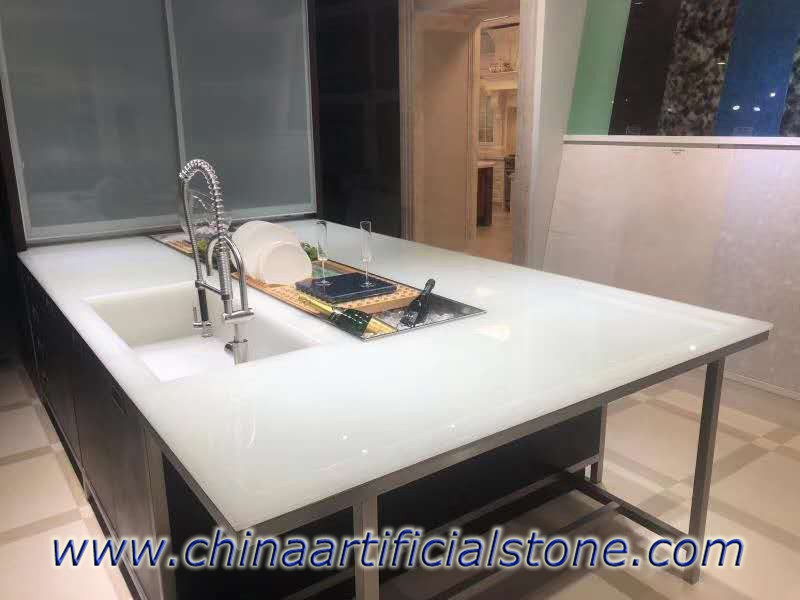 Frost White Bio Glass Kitchen Countertop
