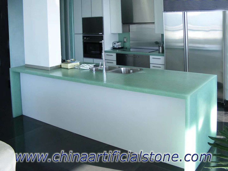 Coral Blue Sea Glass for Kitchen Countertops